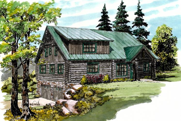 Lodge Style House Plan - Keystone 58431 - Front Exterior