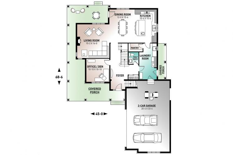 Country House Plan - Turningdale 58508 - 1st Floor Plan