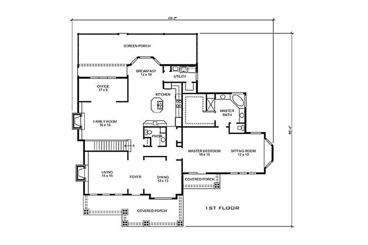 Craftsman House Plan - Boerne 58775 - 1st Floor Plan