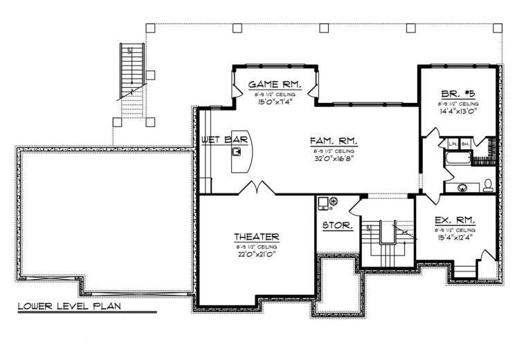 Traditional House Plan -  58782 - Basement Floor Plan