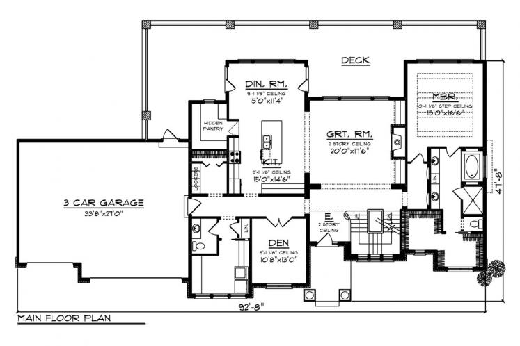 Craftsman House Plan -  58782 - 1st Floor Plan