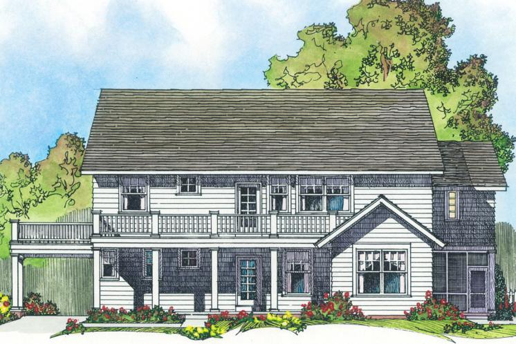 Traditional House Plan -  58838 - Rear Exterior