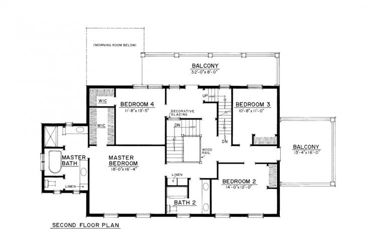 Traditional House Plan -  58838 - 2nd Floor Plan