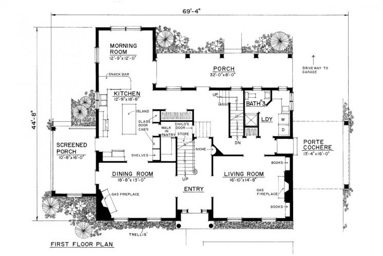 Colonial House Plan -  58838 - 1st Floor Plan