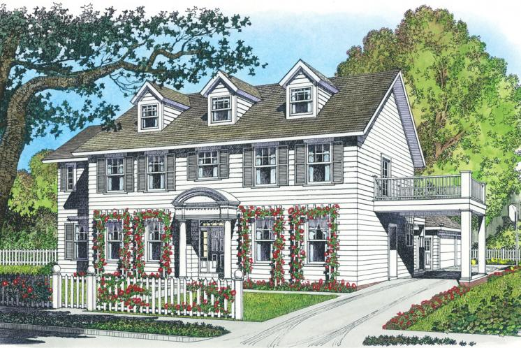 Colonial House Plan -  58838 - Front Exterior