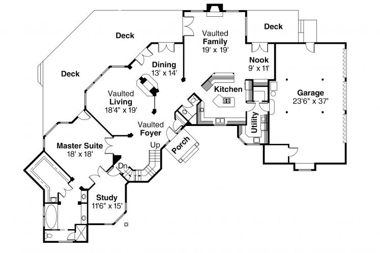 Classic House Plan - Cheshire 58953 - 1st Floor Plan
