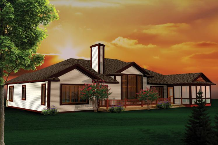 Ranch House Plan -  58965 - Rear Exterior
