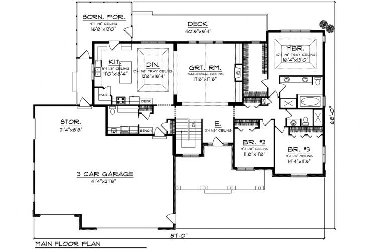 Traditional House Plan -  58965 - 1st Floor Plan