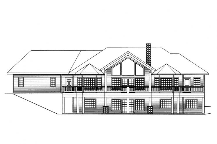 Traditional House Plan -  59042 - Rear Exterior