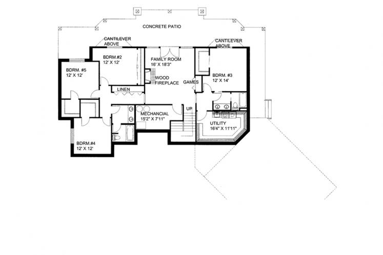 Craftsman House Plan -  59042 - Basement Floor Plan