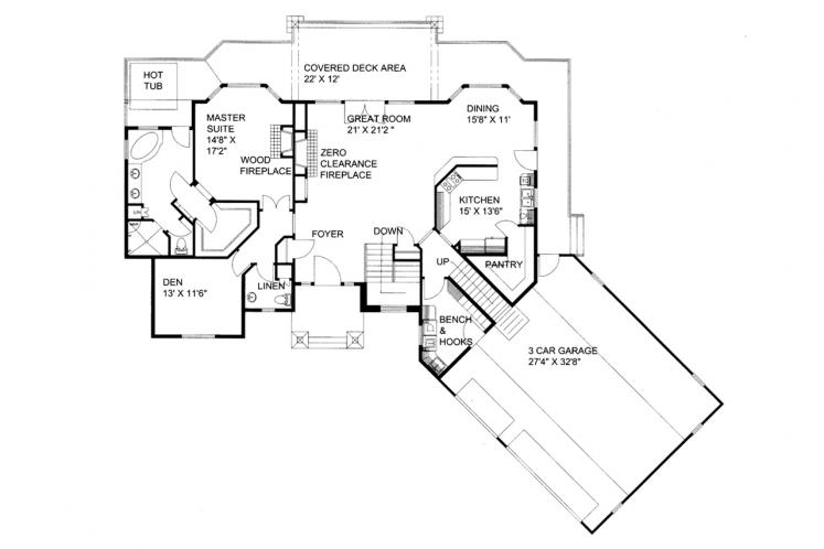 Traditional House Plan -  59042 - 1st Floor Plan