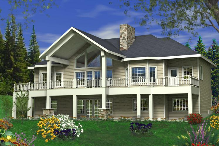 Craftsman House Plan -  59042 - Rear Exterior