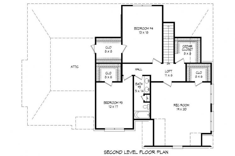 Tudor House Plan -  59124 - 2nd Floor Plan