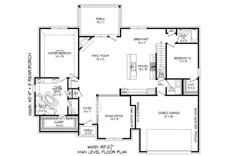 Classic House Plan -  59124 - 1st Floor Plan