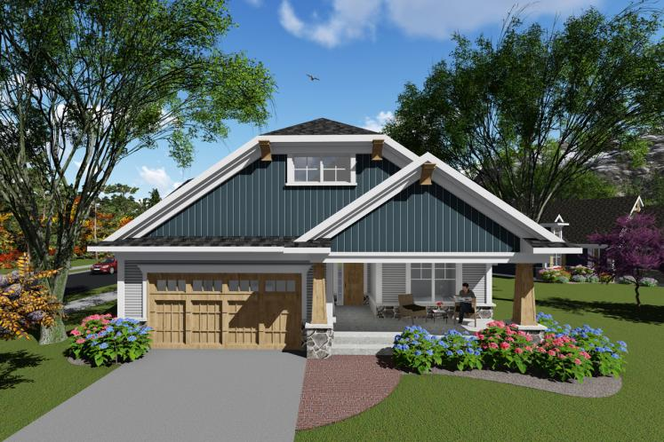 Craftsman House Plan -  59290 - Front Exterior