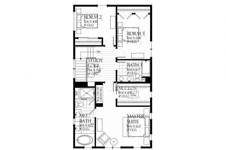 Cottage House Plan - Lansing 59312 - 2nd Floor Plan