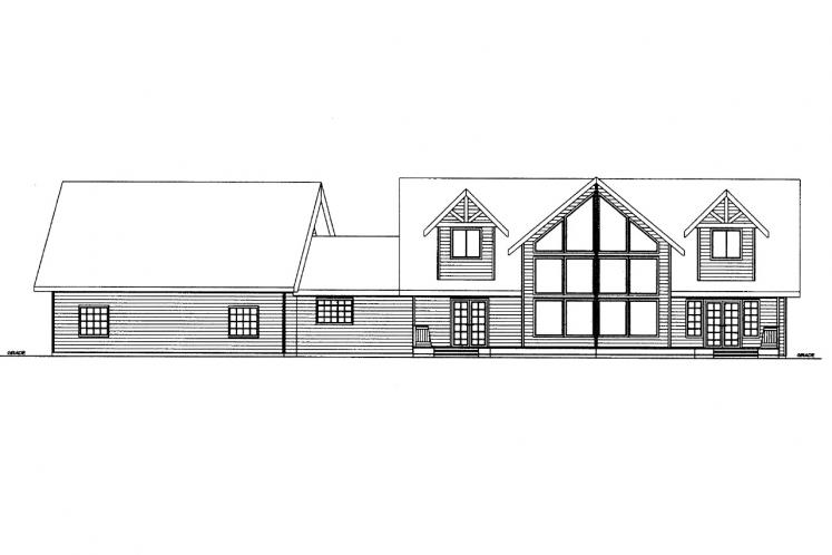 Lodge Style House Plan -  59348 - Rear Exterior