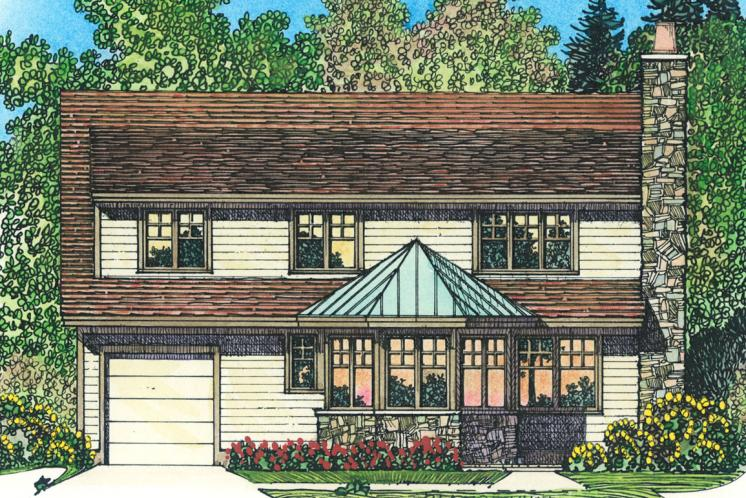 Traditional House Plan -  59357 - Rear Exterior