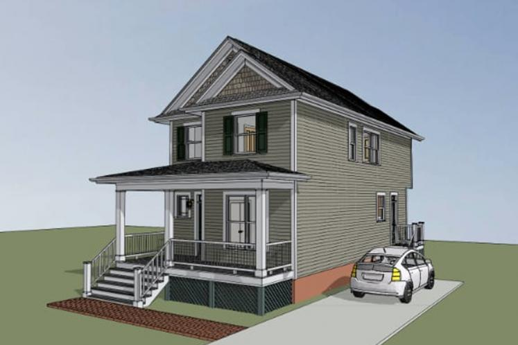 Traditional House Plan -  59589 - Right Exterior