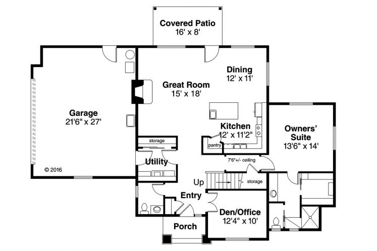 Contemporary House Plan - Larkview 59650 - 1st Floor Plan