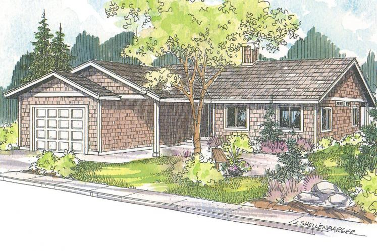 Ranch House Plan - Connelly  60058 - Front Exterior