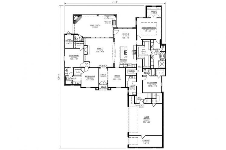 Classic House Plan - Normandy 60113 - 1st Floor Plan