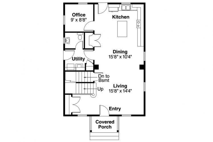 Cape Cod House Plan - Castor 60127 - 1st Floor Plan