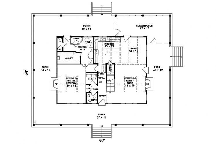 Country House Plan -  60318 - 1st Floor Plan