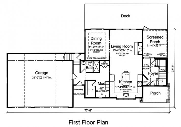 Craftsman House Plan - The Crystal Bay 60446 - 1st Floor Plan