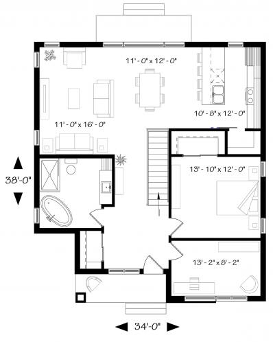 Modern House Plan - Camille 60592 - 1st Floor Plan