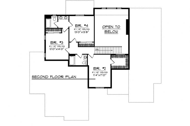 Traditional House Plan -  60648 - 2nd Floor Plan