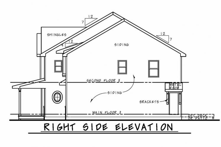 Craftsman House Plan - Ames 60993 - Right Exterior