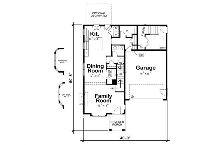 Traditional House Plan - Ames 60993 - 1st Floor Plan