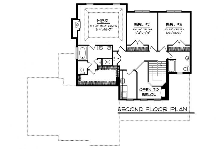 Craftsman House Plan -  61207 - 2nd Floor Plan