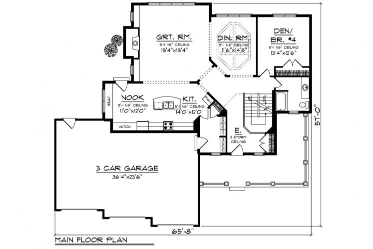 Traditional House Plan -  61207 - 1st Floor Plan