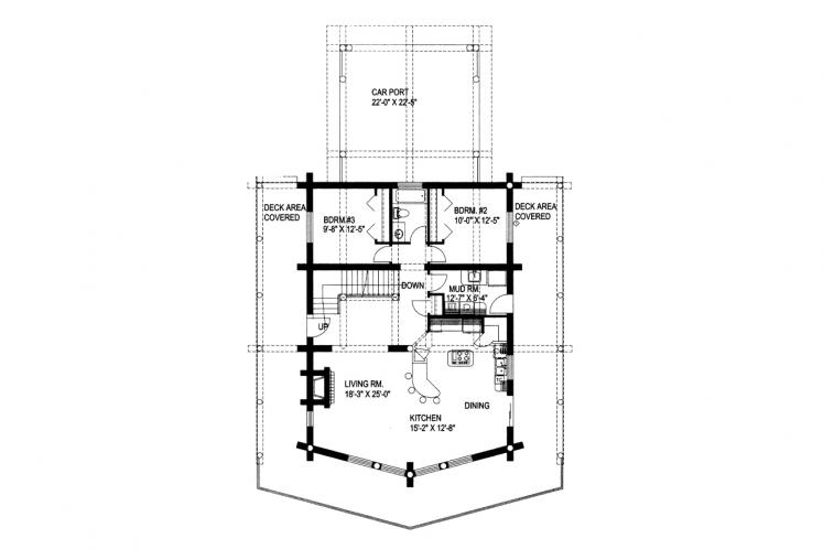 Lodge Style House Plan -  61448 - 1st Floor Plan