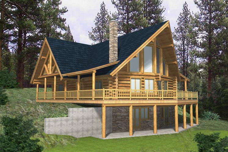 A-Frame House Plan -  61448 - Front Exterior