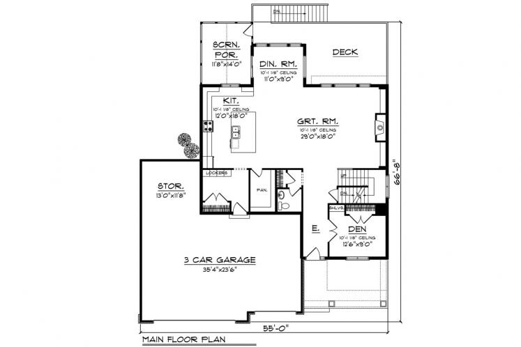 Traditional House Plan -  61452 - 1st Floor Plan