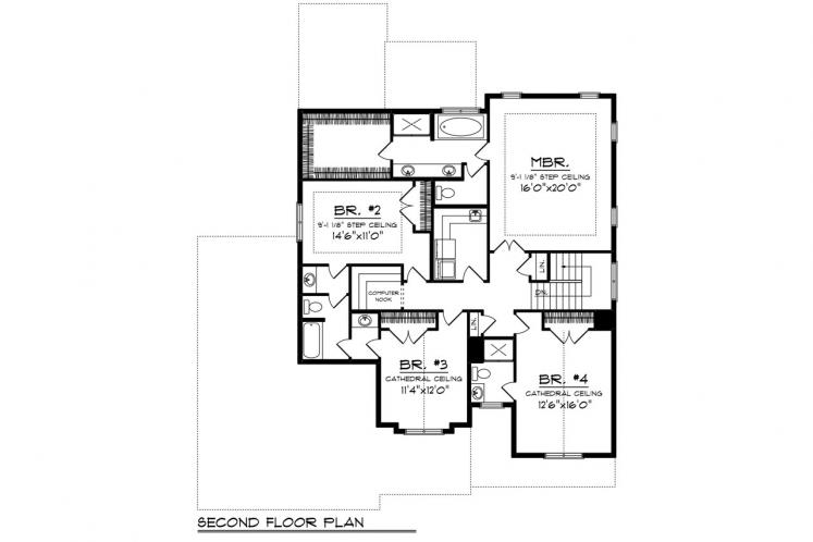 Craftsman House Plan -  61452 - 2nd Floor Plan