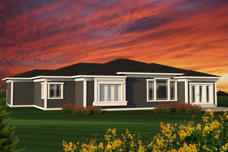 Contemporary House Plan -  61457 - Rear Exterior