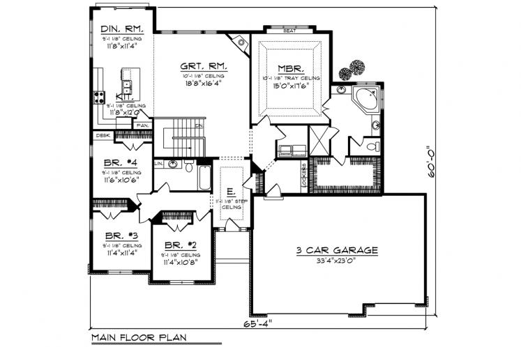 Ranch House Plan -  61457 - 1st Floor Plan