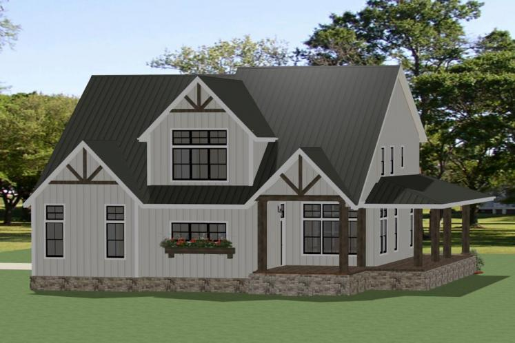 Farmhouse House Plan - Grayson 61513 - Rear Exterior