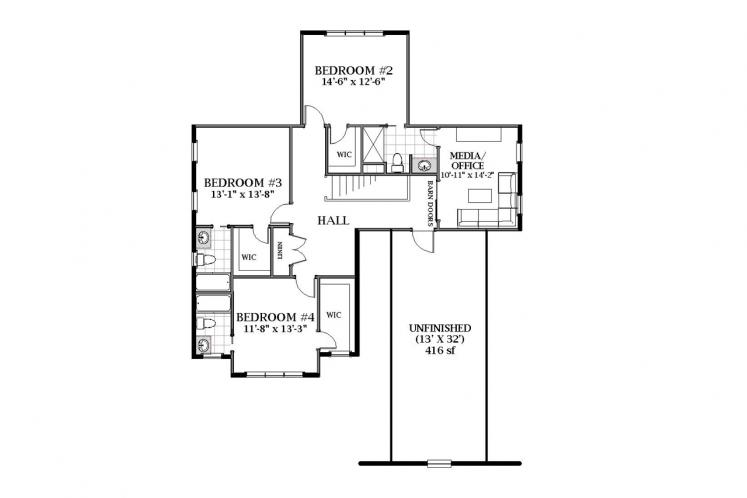 Farmhouse House Plan - Grayson 61513 - 2nd Floor Plan