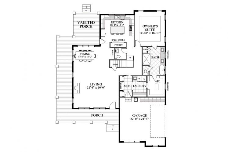 Craftsman House Plan - Grayson 61513 - 1st Floor Plan