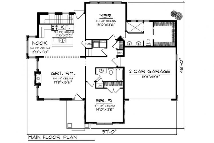 Ranch House Plan -  61544 - 1st Floor Plan