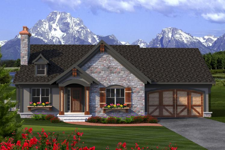 Ranch House Plan -  61544 - Front Exterior