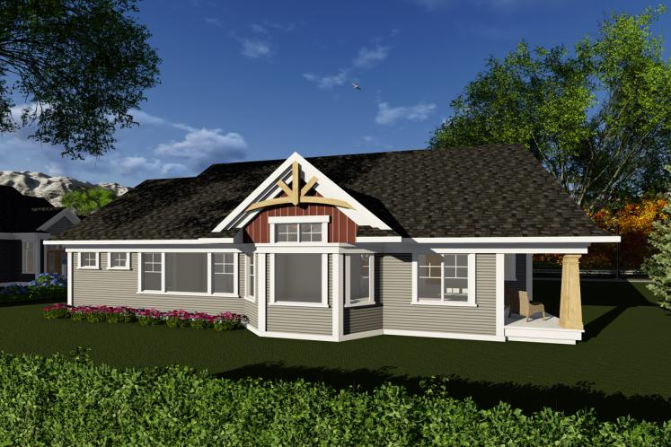 Ranch House Plan -  61558 - Rear Exterior