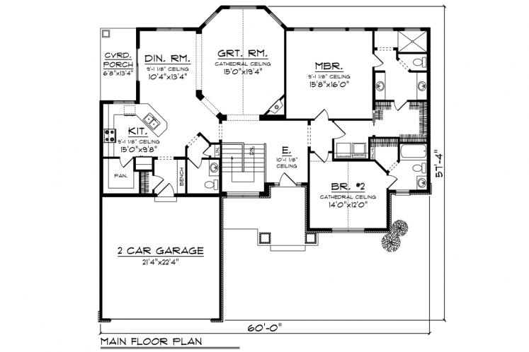 Craftsman House Plan -  61558 - 1st Floor Plan