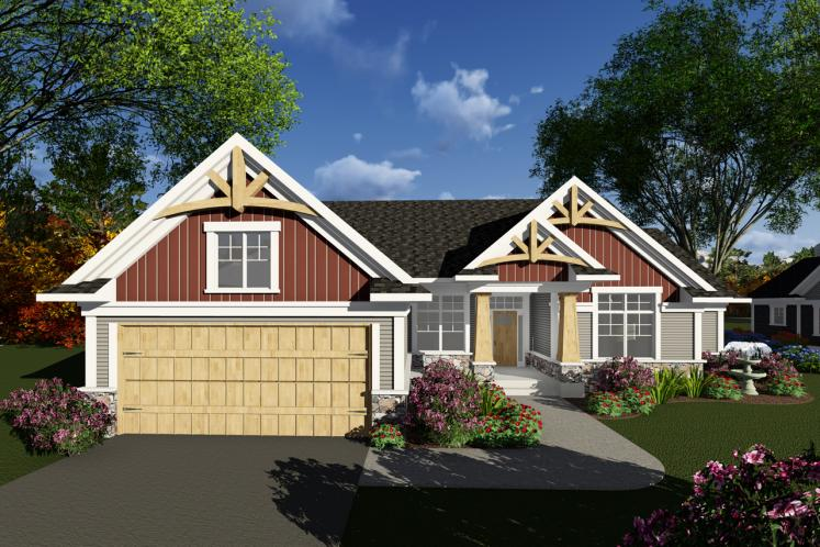 Craftsman House Plan -  61558 - Front Exterior