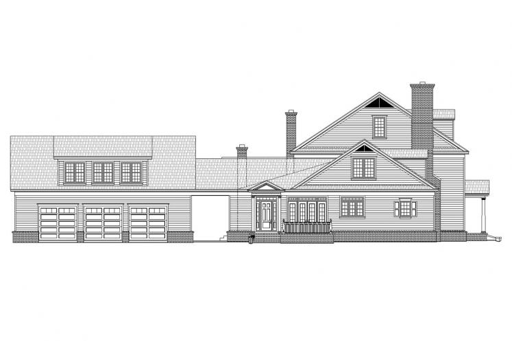 Colonial House Plan -  61583 - Left Exterior
